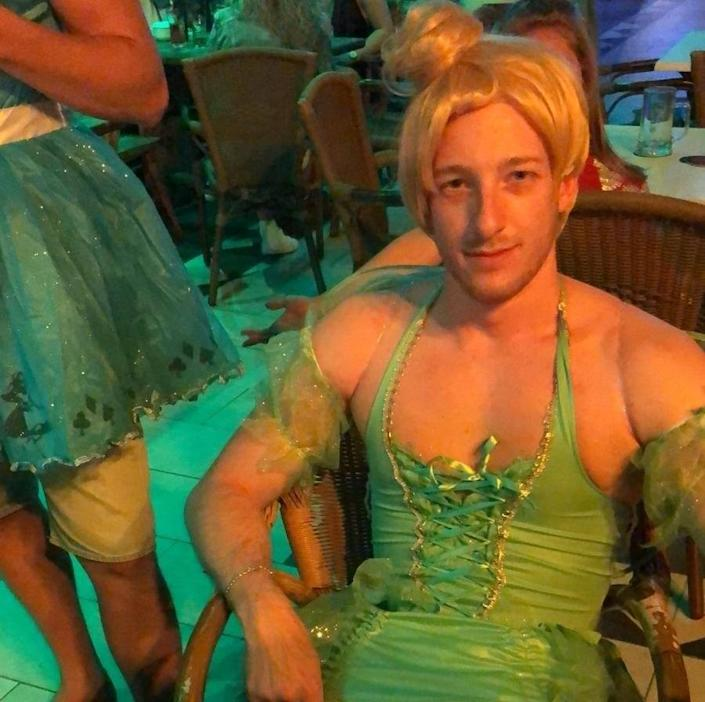 Luke Jordan on his stag do, after surgery but before chemo. He had shaved off his hair to 'own the process rather than having to deal with it all falling out' (supplied, Luke Jordan)