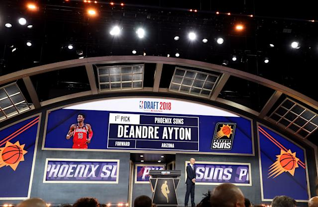 """<a class=""""link rapid-noclick-resp"""" href=""""/nba/players/5958/"""" data-ylk=""""slk:Deandre Ayton"""">Deandre Ayton</a> was chosen No. 1 overall in the 2018 NBA draft. (Getty)"""