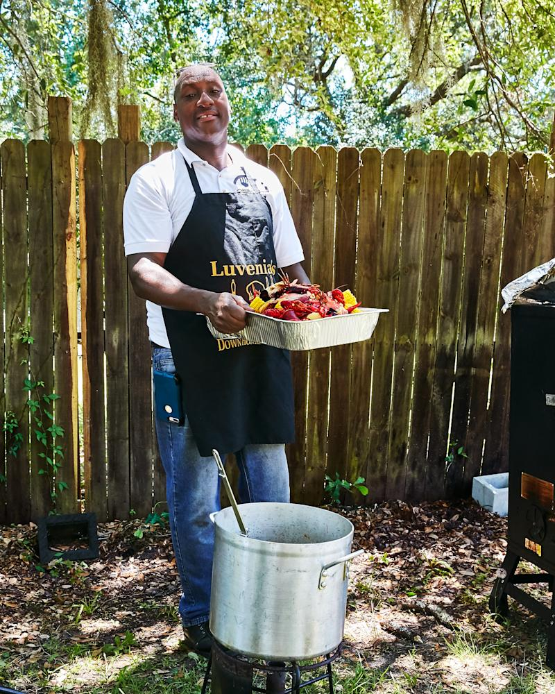 Isaiah Brown runs his late mother Luvenia's catering business on weekends in Brunswick, GA.