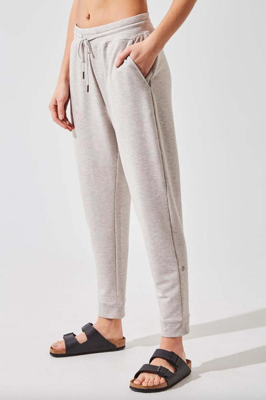'Recruit' Recycled Polyester Luxe Sweatpants in Htr Oatmeal (Photo via MPG Sport)