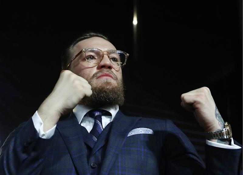 MOSCOW, RUSSIA - OCTOBER 24, 2019: Former UFC lightweight champion, Irish mixed martial artist Conor McGregor, gives a press conference. Stanislav Krasilnikov/TASS (Photo by Stanislav Krasilnikov\TASS via Getty Images)