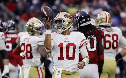 49ers quarterback Jimmy Garoppolo has been sensational since being traded from the Patriots, but faces his toughest test yet with Jacksonville this weekend.. (AP Photo/David J. Phillip, File)