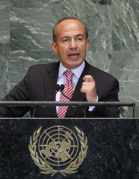 The President of Mexico, Felipe Calderon addresses the 67th session of the United Nations General Assembly at U.N. headquarters, Wednesday, Sept. 26, 2012. (AP Photo/Jason DeCrow)