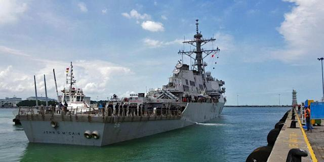 <p>The guided-missile destroyer USS John S. McCain arrives at Changi Naval Base in Singapore August 21, 2017 in this handout photo courtesy of the U.S. Navy. (Photo: U.S. Navy/Reuters) </p>