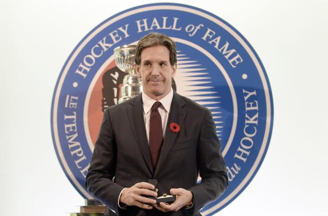 Former Devils player Brendan Shanahan poses for a picture after being inducted into the Hockey Hall of Fame in Toronto, November 8, 2013. Shanahan was amongst one of five inductees for the 2013 class of the Hockey Hall of Fame. REUTERS/Aaron Harris (CANADA - Tags: SPORT ICE HOCKEY)