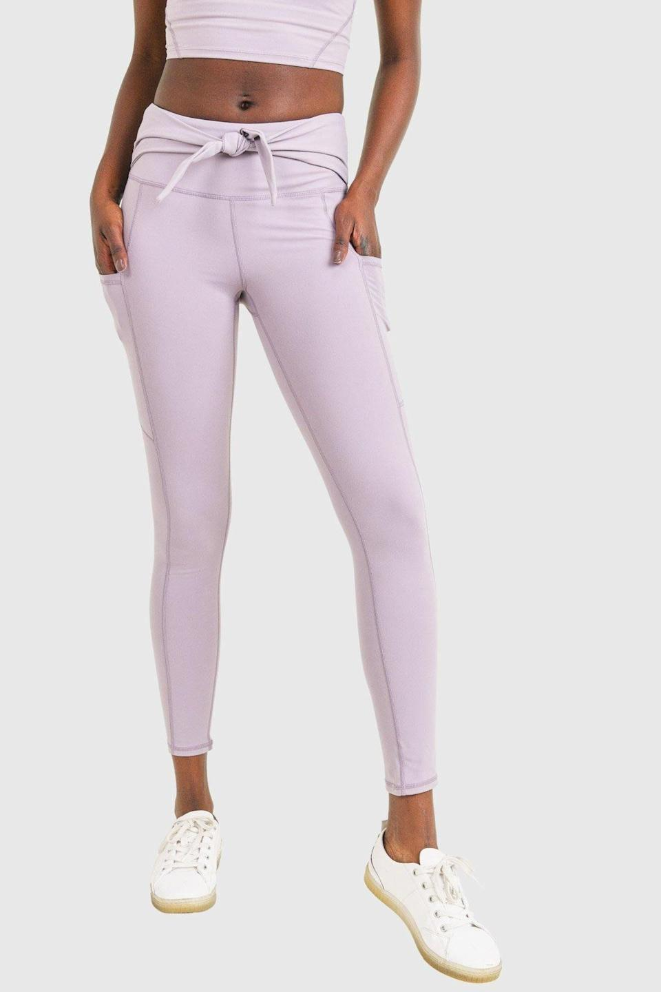 """<p><strong>Mono B</strong></p><p>mymonob.com</p><p><strong>$39.00</strong></p><p><a href=""""https://www.mymonob.com/collections/leggings/products/high-rise-cleo-leggings?variant=39447981064350"""" rel=""""nofollow noopener"""" target=""""_blank"""" data-ylk=""""slk:SHOP NOW"""" class=""""link rapid-noclick-resp"""">SHOP NOW</a></p><p>In collaboration with LAPCOS skincare in the previous slide, clothing brand Mono B is also donating 10 percent of sales to <a href=""""https://www.asianmhc.org/"""" rel=""""nofollow noopener"""" target=""""_blank"""" data-ylk=""""slk:The Asian Mental Health Collective"""" class=""""link rapid-noclick-resp"""">The Asian Mental Health Collective</a> and offering 20 percent off with code HEREFORYOU20 on its range of cute and colorful athleisure. We're adding these flattering tie-waist leggings to our cart.</p>"""