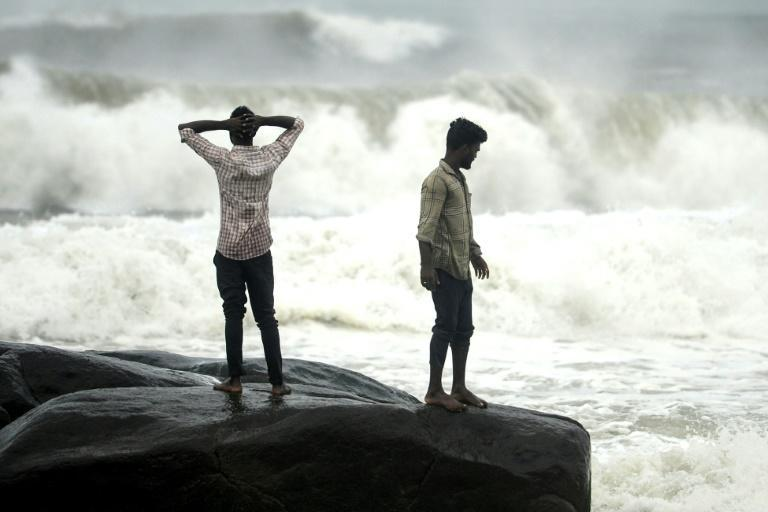 Waves crash at Kovalam Beach in Chennai as Cyclone Nivar approaches the eastern Indian coast on November 24, 2020