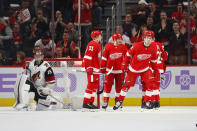 Detroit Red Wings center Michael Rasmussen (27) skates to the bench after scoring on Arizona Coyotes goaltender Darcy Kuemper (35) in the first period of an NHL hockey game Tuesday, Nov. 13, 2018, in Detroit. (AP Photo/Paul Sancya)