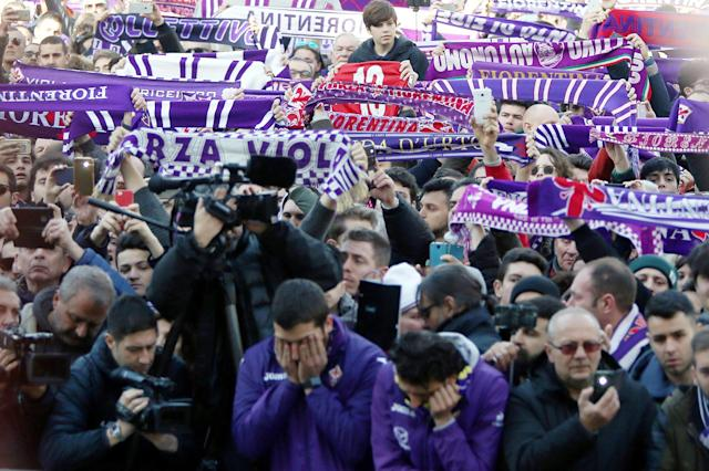 <p>Fans gather ahead of a funeral service for Davide Astori on March 8, 2018 in Florence, Italy. The Fiorentina captain and Italy international Davide Astori died suddenly in his sleep aged 31 on March 4th, 2018. (Photo by Gabriele Maltinti/Getty Images) </p>