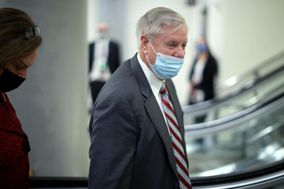 Sen. Lindsey Graham (R-SC) arrives at the U.S. Capitol on the third day of former President Donald Trump's impeachment trial on February 11, 2021 in Washington, DC. (Chip Somodevilla/Getty Images)