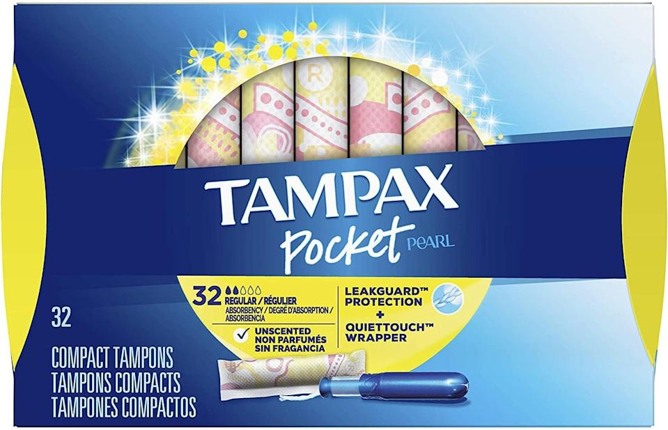 <p>Like to buy in bulk? Try these <span>Tampax Pocket Pearl tampons</span> ($21 for three packs of 32). Like other tampons on this list, these feature a compact applicator that slides out to make the tampon full-size. The tampons' braided string is another draw; it's designed to help absorb unexpected leaks, saving your underwear or clothes. </p>