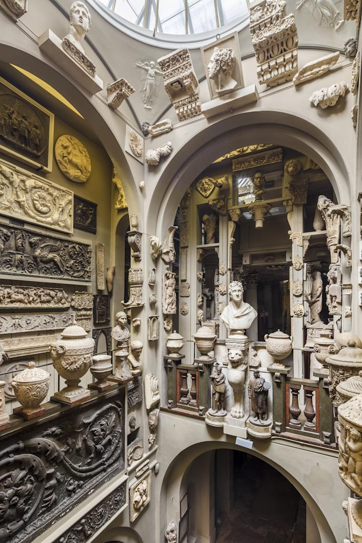 Sir John Soane's Museum holds over 6,000 items, including the antiquities seen here.