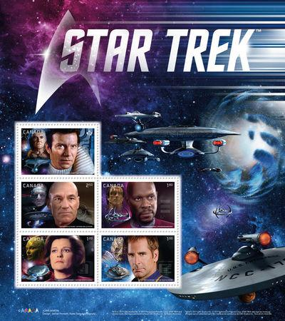 A set of Star Trek stamps issued by Canada Post, is pictured in this handout photo
