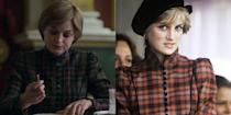 <p>In Season four of the <em>The Crown</em> we see Princess Diana in a button down high neck tartan dress while attending Princess lessons with her grandmother. The ensemble was not far off from the Princess's style in real life, shortly after her wedding Diana wore a similar dress, designed by Caroline Chalres, to the Braemar Highland Games in Scotland. </p>
