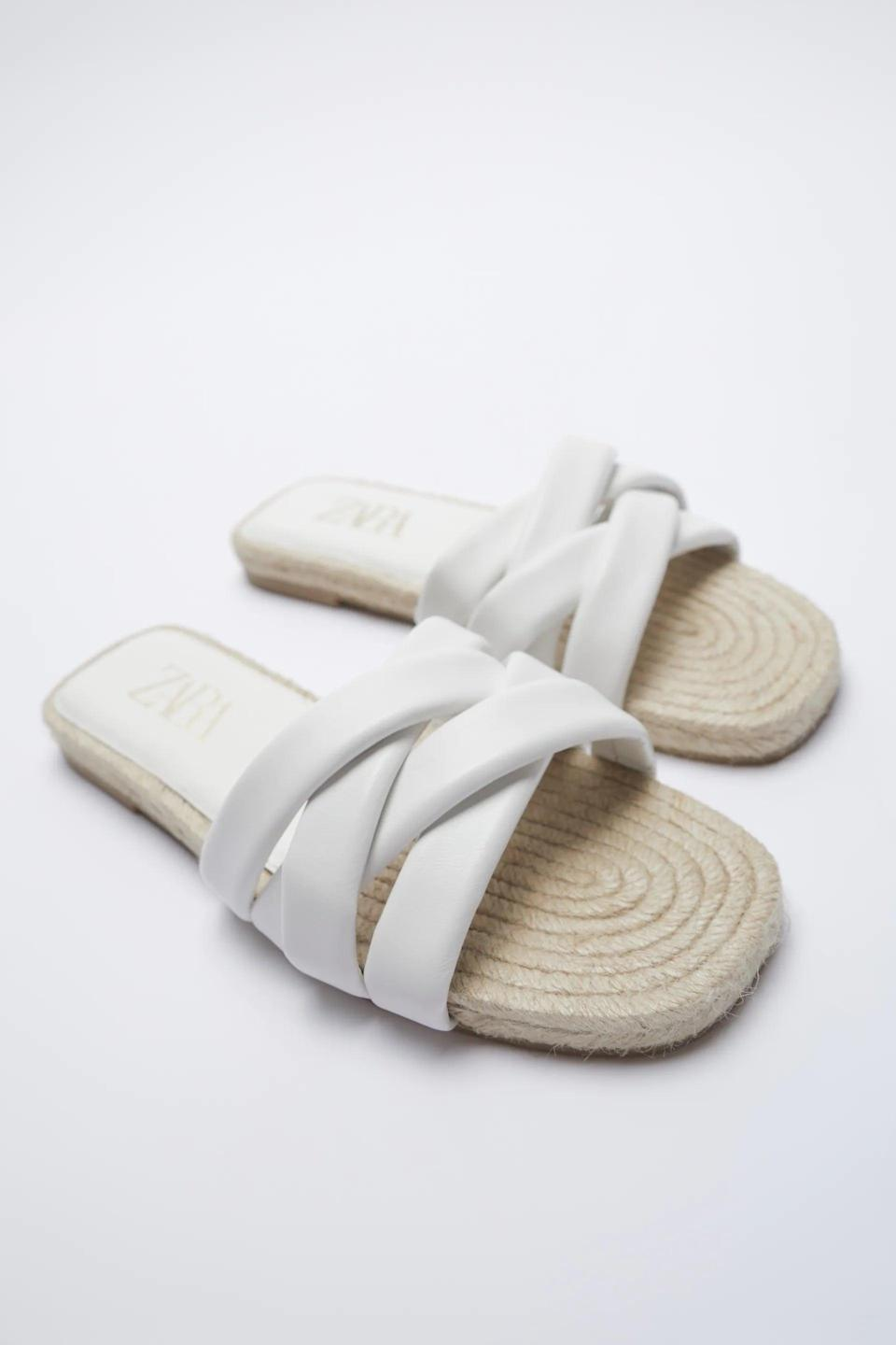 <p>Summer definitely calls for these <span>Zara Jute Flat Quilted Leather Sandals</span> ($50).</p>