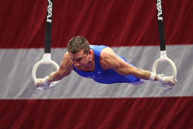 ST. LOUIS, MO - JUNE 9: Jonathan Horton competes on the rings during the Senior Men's competition on Day Three of the Visa Championships at Chaifetz Arena on June 9, 2012 in St. Louis, Missouri. (Photo by Dilip Vishwanat/Getty Images)