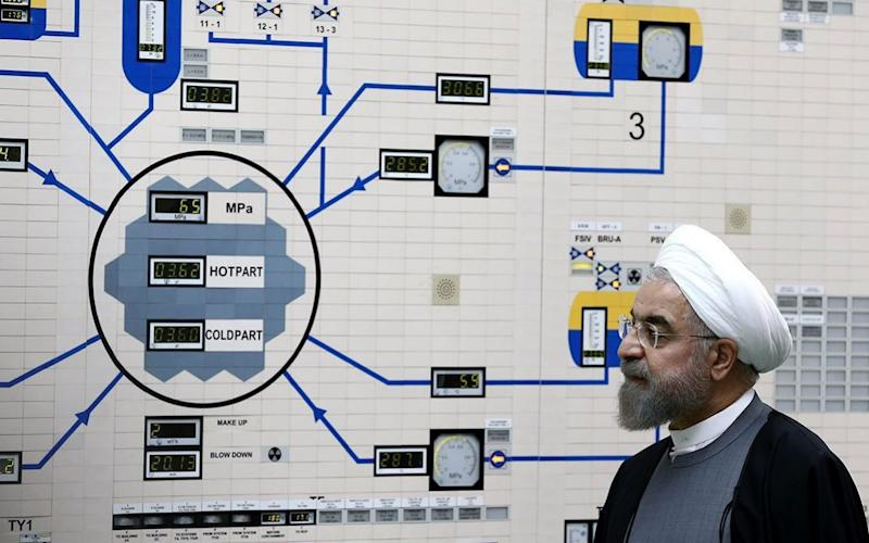 Iranian President Hassan Rouhani visiting the Bushehr nuclear power plant in 2015  - REX