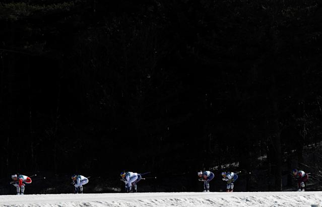Cross-Country Skiing - Pyeongchang 2018 Winter Olympics - Women's 30km Mass Start Classic - Alpensia Cross-Country Skiing Centre - Pyeongchang, South Korea - February 25, 2018 - Marit Bjoergen of Norway leads. REUTERS/Toby Melville TPX IMAGES OF THE DAY