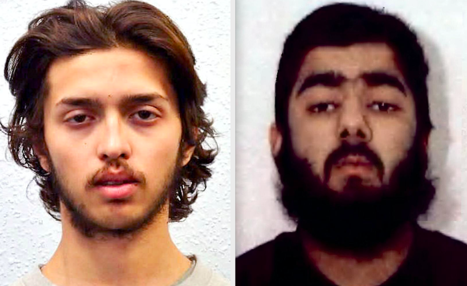 Convicted terrorists Sudesh Amman and Usman Khan bout launched attacks after they were released from prison. (PA)