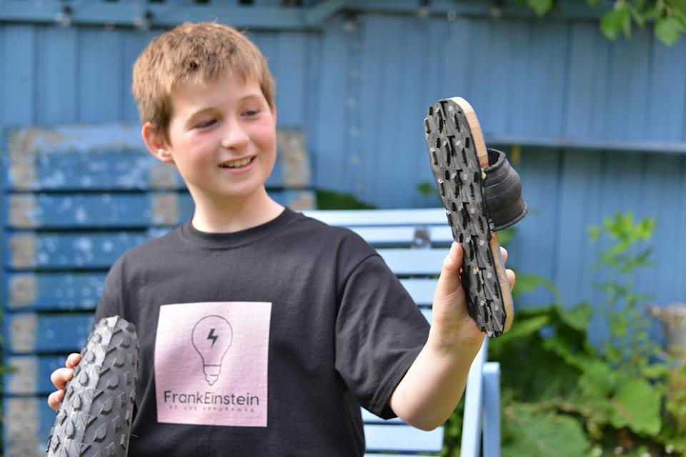Otto made sandals out of an old tyre. (BT/PA Real Life)