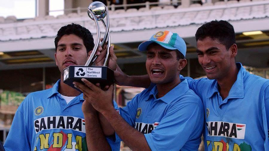Sourav Ganguly holds up the NatWest Trophy, flanked by Yuvraj Singh and Mohammad Kaif, heroes aged 20 and 21.