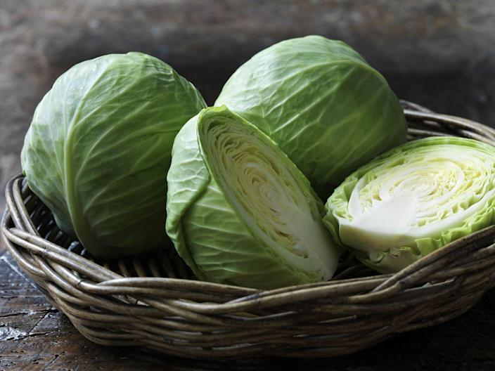 """<p><a href=""""https://www.prevention.com/food-nutrition/a20502808/how-to-cook-cabbage-recipes/"""" rel=""""nofollow noopener"""" target=""""_blank"""" data-ylk=""""slk:Cabbage"""" class=""""link rapid-noclick-resp"""">Cabbage</a> might seem like a boring pick, but there are so many things you can do with it while still getting all the health perks (like more fiber!). <a href=""""https://www.prevention.com/food-nutrition/recipes/a20523187/braised-red-cabbage-and-apples/"""" rel=""""nofollow noopener"""" target=""""_blank"""" data-ylk=""""slk:Braise"""" class=""""link rapid-noclick-resp"""">Braise</a>, <a href=""""https://www.prevention.com/food-nutrition/recipes/a20525116/pierogies-with-sauteed-green-cabbage-and-onions/"""" rel=""""nofollow noopener"""" target=""""_blank"""" data-ylk=""""slk:sauté"""" class=""""link rapid-noclick-resp"""">sauté</a>, add it to <a href=""""https://www.prevention.com/food-nutrition/recipes/a20522768/warm-salad-of-savoy-cabbage-bacon-and-pears/"""" rel=""""nofollow noopener"""" target=""""_blank"""" data-ylk=""""slk:salads"""" class=""""link rapid-noclick-resp"""">salads</a>, or use it as a <a href=""""https://www.prevention.com/food-nutrition/g20489697/6-flavor-packed-lettuce-wraps-you-need-to-make-now/"""" rel=""""nofollow noopener"""" target=""""_blank"""" data-ylk=""""slk:wrap"""" class=""""link rapid-noclick-resp"""">wrap</a> for other foods.</p>"""