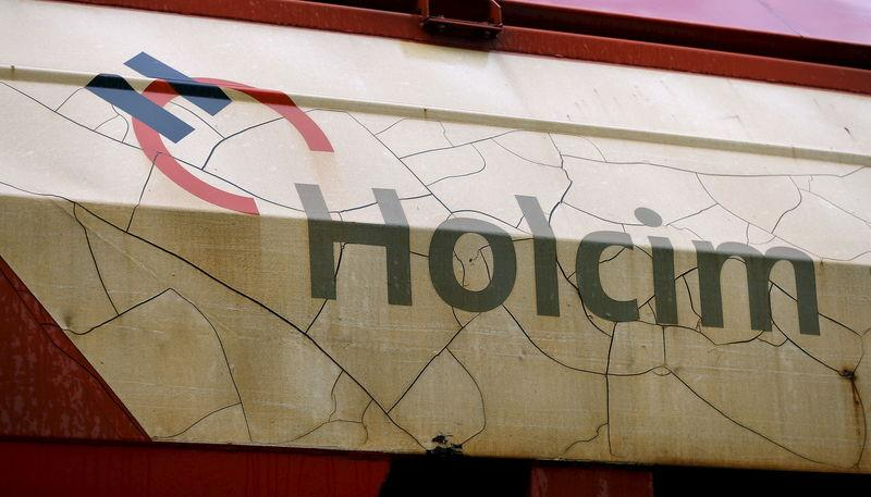 The logo of Swiss cement maker Holcim is seen on a railway-car in the town of Schlieren