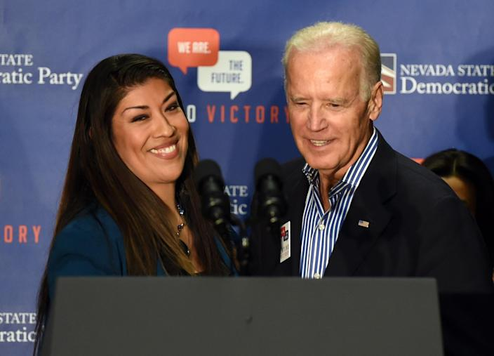 Democratic candidate for lieutenant governor and current Nevada Assemblywoman Lucy Flores (D-Las Vegas) (L) introduces U.S. Vice President Joe Biden at a get-out-the-vote rally at a union hall on November 1, 2014 in Las Vegas, Nevada. Biden is stumping for Nevada Democrats ahead of the November 4th election. (Photo by Ethan Miller/Getty Images)