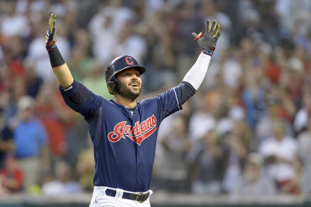 CLEVELAND, OH - JULY 8: Nick Swisher #33 of the Cleveland Indians celebrates after hitting a two run home run during the sixth inning against the New York Yankees at Progressive Field on July 8, 2014 in Cleveland, Ohio. (Photo by Jason Miller/Getty Images)
