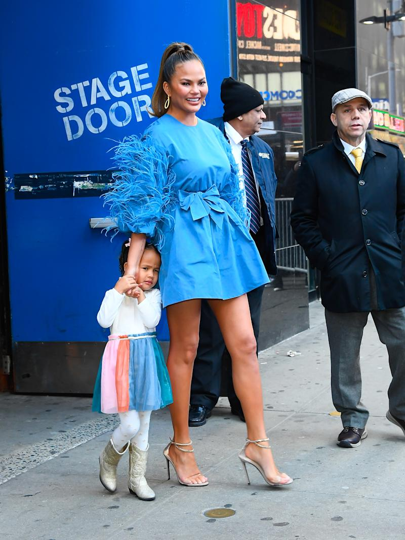 Chrissy Teigen and her daughter, Luna. (Photo by Raymond Hall/GC Images)