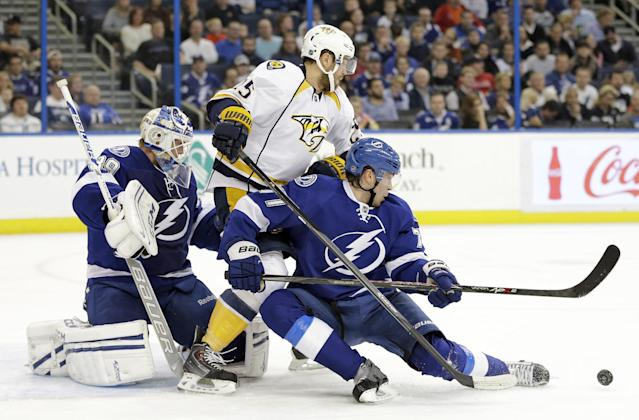 Tampa Bay Lightning defenseman Victor Hedman (77), of Sweden, blocks a pass intended for Nashville Predators left wing Viktor Stalberg (25) in front of Lightning goaltender Anders Lindback (39), also of Sweden, during the first period of an NHL hockey game, Thursday, Dec. 19, 2013, in Tampa, Fla. (AP Photo/Chris O'Meara)