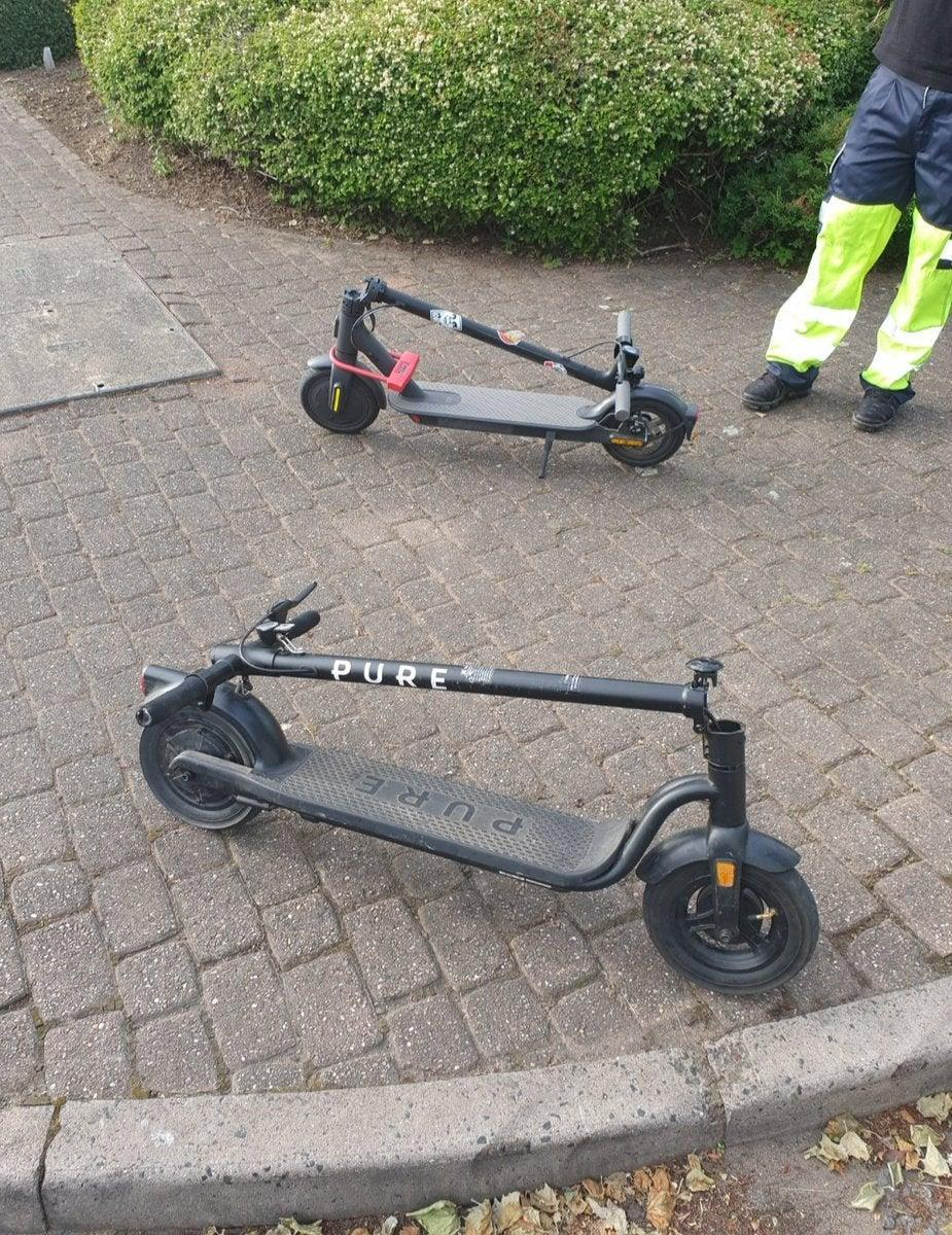 E-scooters seized by West Midlands Police in the Aston area of Birmingham in June. (West Midlands Police/PA)