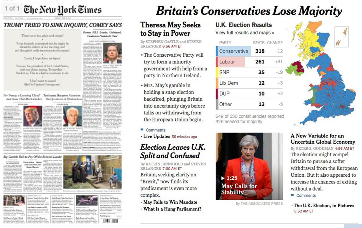 "<p>The New York Times said the result left the UK ""split and confused"" </p>"