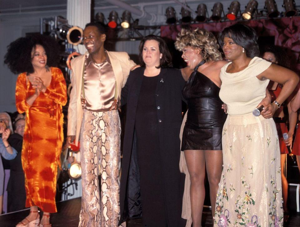 <p>At the launch of <em>Oprah Magazine</em>, alongside Diana Ross, Luther Vandross, Rosie O'Donnell, and Oprah Winfrey.</p>