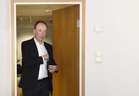 The Finns Party Chairman Jussi Halla-aho briefs media in Helsinki, Finland April 15, 2019. Lehtikuva/Heikki Saukkomaa via REUTERS
