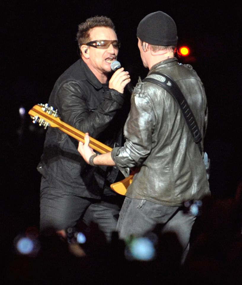 U2's The Edge and Bono will perform live at the Decade of Difference Concert. The Irish rockers have won 22 Grammy Awards with their band. (AP Photo/Gail Burton)