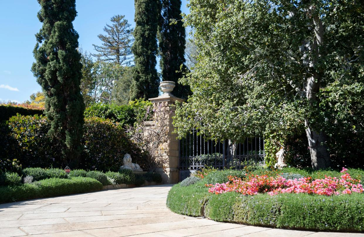 View of the gate of the Estate where Prince Harry and his wife US actress Meghan Markle have their house, in Montecito, California on March 6, 2021. - Prince Harry and Meghan Markle headed to California and relocated in July, 2020 to Montecito, a small and affluent seaside city 100 miles (160 kilometers) up the coast, where a spokesperson said they had