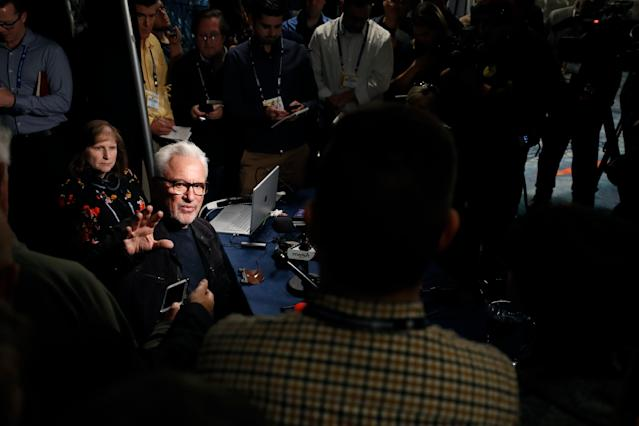 Los Angeles Angels manager Joe Maddon, left, speaks during the Major League Baseball winter meetings Monday, Dec. 9, 2019, in San Diego. (AP Photo/Gregory Bull)