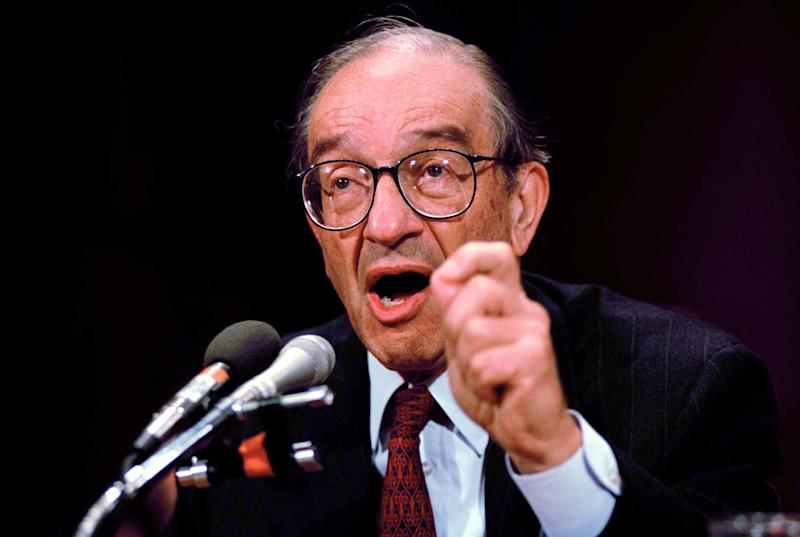 Then Federal Reserve Board Chairman Alan Greenspan, Friday, July 26, 1996, Washington, D.C. (AP Photo/John Duricka)