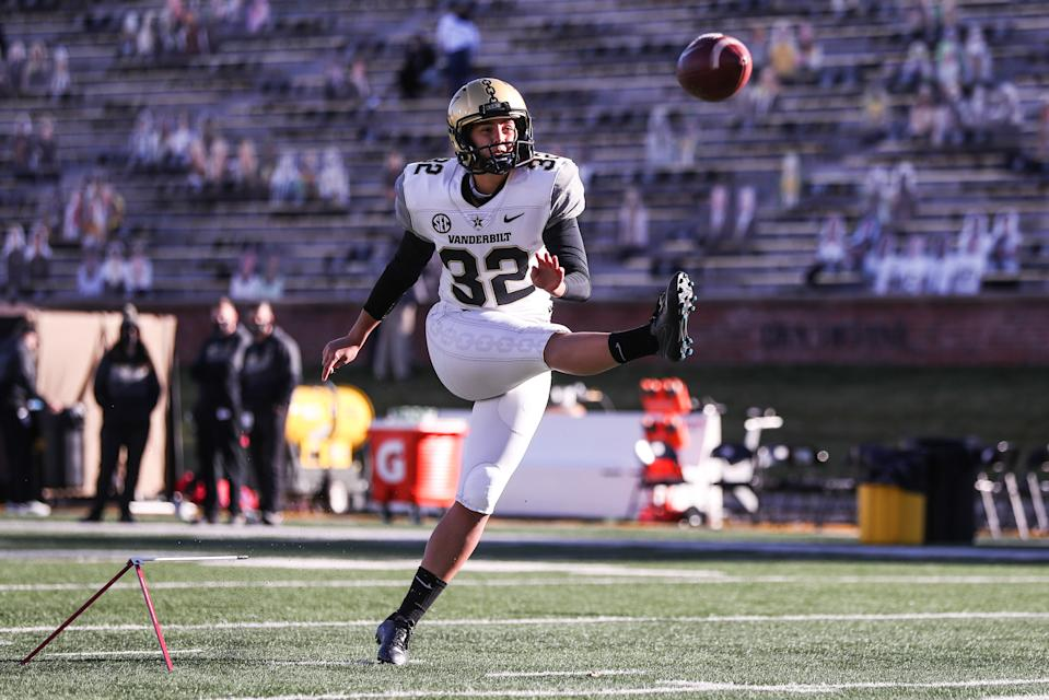 Vanderbilt kicker Sarah Fuller warms up prior to the game against Missouri on Nov. (Missouri Athletics/Collegiate Images/Getty Images)
