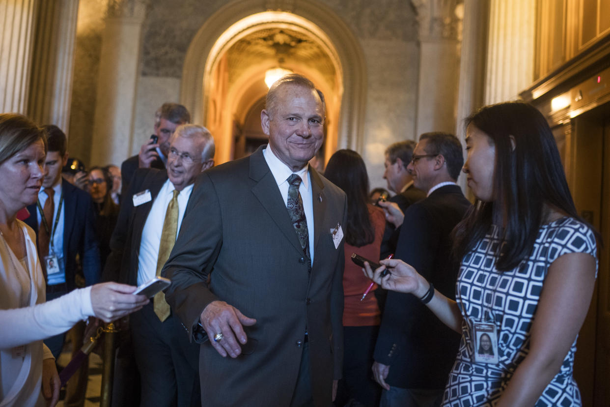 Moore is questioned by the media in the Capitol on Oct. 31. (Photo: Tom Williams/CQ Roll Call/Getty Images)