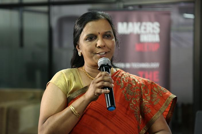 Dr. Geetha Manjunath, Co-founder and CEO of Niramai, gave the keynote address at the MAKERS India meetup in Bengaluru on Wednesday.