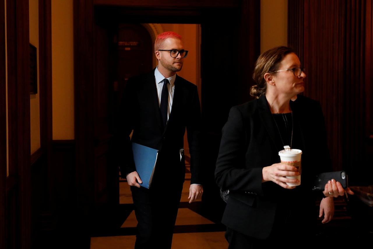 Cambridge Analytica employee Christopher Wylie arrives to meet with Democratic members of the House Intelligence Committee at the U.S. Capitol in Washington, U.S., April 25, 2018. REUTERS/Aaron P. Bernstein