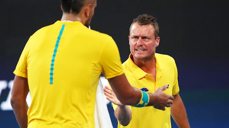 Lleyton Hewitt and Nick Kyrgios, pictured here during Australia's semi-final at the ATP Cup.
