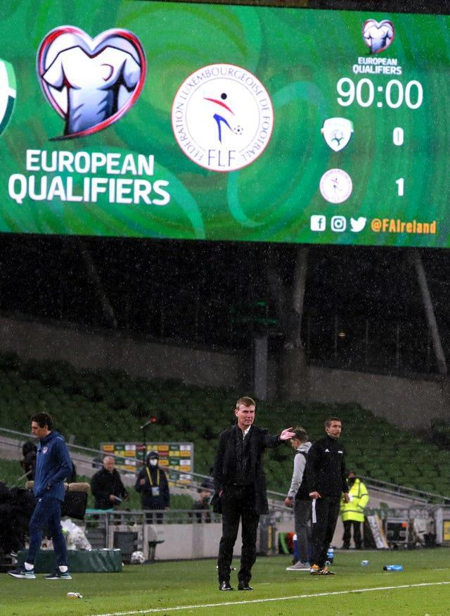 Republic of Ireland manager Stephen Kenny gestures on the touchline as his side slips to a 1-0 home defeat by Luxembourg