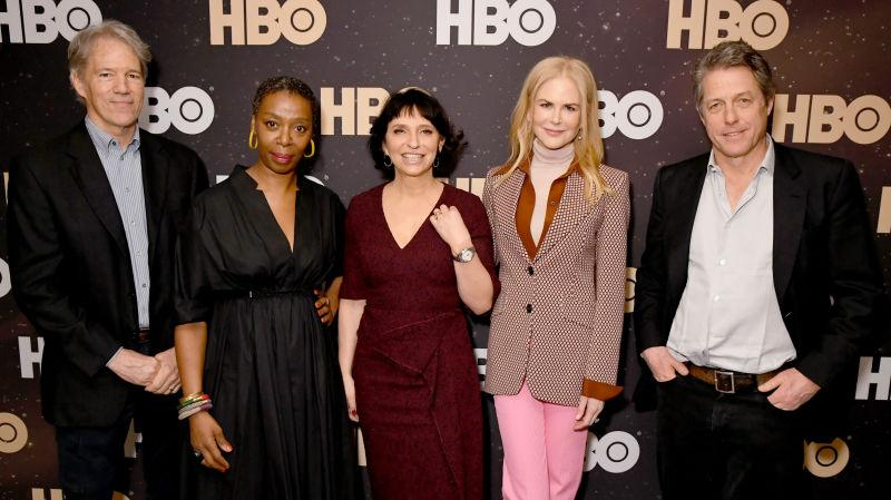Susanne Bier (center) with, from left to right David E. Kelley, Noma Dumezweni, Nicole Kidman, and Hugh Grant