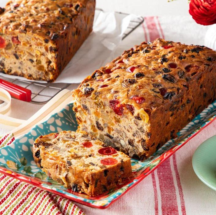 """<p>Even fruit cake skeptics will love this Christmas dessert. It's packed with colorful fruits, nuts, and a hint of pumpkin-spiced flavor. </p><p><a href=""""https://www.thepioneerwoman.com/food-cooking/recipes/a37286974/fruit-cake-recipe/"""" rel=""""nofollow noopener"""" target=""""_blank"""" data-ylk=""""slk:Get the recipe."""" class=""""link rapid-noclick-resp""""><strong>Get the recipe.</strong></a></p>"""