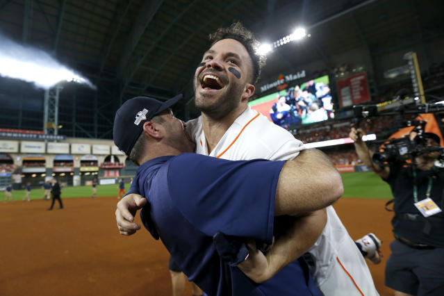 "Multiple teams alerted MLB about the <a class=""link rapid-noclick-resp"" href=""/mlb/teams/houston/"" data-ylk=""slk:Astros"">Astros</a>' cheating. (Photo by Elsa/Getty Images)"
