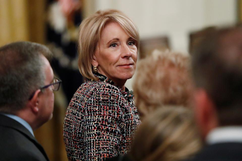 U.S. Education Secretary Betsy DeVos attends a ceremony where President Donald Trump awarded the 2018 Presidential Medals of Freedom in the East Room of the White House in Washington, U.S. November 16, 2018. REUTERS/Leah Millis