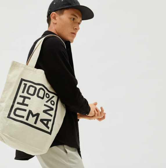 The 100% Human Tote Bag in Canvas and Black. Image via Everlane.